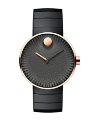 Movado Edge Ionic Plated Steel Textured Dial Link Bracelet Watch Black