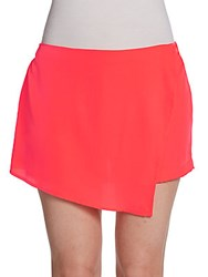 Saks Fifth Avenue Red Asymmetrical Woven Skort Juice