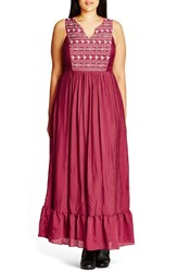 City Chic Plus Size Women's 'Embroidered Love' Maxi Dress Marsala