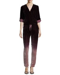 Young Fabulous And Broke Zander Velvet Ombre Jumpsuit Navy