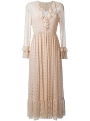 Philosophy Di Lorenzo Serafini Ruffled Neck Lace Dress Nude And Neutrals