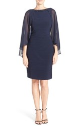 Adrianna Papell Women's Embellished Crepe Sheath With Chiffon Cape