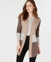 Charter Club Pure Cashmere Colorblocked Cardigan Heather Taupe Combo
