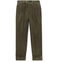 Margaret Howell Tapered Pleated Cotton Corduroy Trousers Dark Green