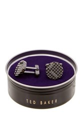 Ted Baker Textured Circle Cuff Links Gray