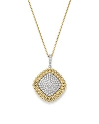 Bloomingdale's Diamond Pave Square Pendant Necklace In 14K White And Yellow Gold 1.18 Ct. T.W. White Gold