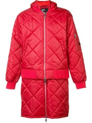 Hood By Air 'Against' Quilted Bomber Jacket Red