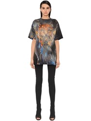 Balmain Tiger Destroyed Jersey T Shirt Dress