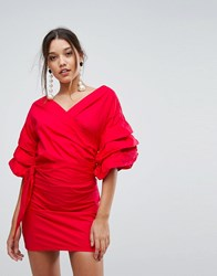 Lioness Off Shoulder Mini Dress With Ruched Sleeve Detail Red