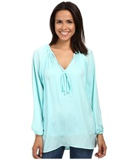 Miraclebody Jeans Paula Peasant Blouse W Body Shaping Inner Shell Aqua Green Women's Blouse Blue