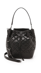Alice Olivia Quilted Glazed Leather Bucket Bag Black