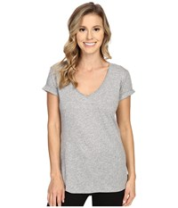 P.J. Salvage Slub Jersey V Neck Tee Heather Grey Women's Short Sleeve Pullover Gray