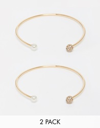 Warehouse Sparkle And Faux Pearl Multipack Cuff Bracelets Gold