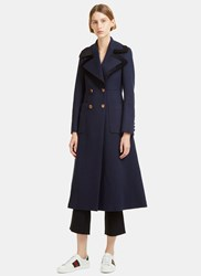 Gucci Tailored Double Breasted Wool Coat Navy