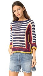 Red Valentino Colorblock Sweater Blue Red Beige