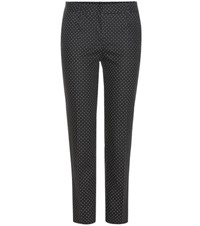 Dolce And Gabbana Polka Dot Stretch Cotton Twill Trousers Black