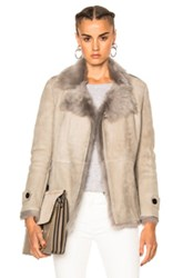 Burberry London Shearling Jacket In Gray