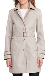 Lauren Ralph Lauren Women's Faux Leather Trim Trench Coat Clay