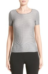 Armani Collezioni Women's Striped Piped Jersey Tee Grey Multi
