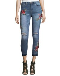 Nanette Nanette Lepore Cropped Distressed Embroidered Jeans Blue