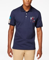 Lrg Men's Big And Tall Paddle Team Graphic Print Polo Navy