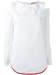 Erika Cavallini Cut Out Shoulders Blouse White
