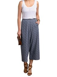 Pure Collection Fluid Cropped Palazzo Trousers Navy Broken Stripe
