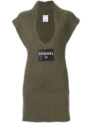 Chanel Vintage Sleeveless One Piece Dress Green