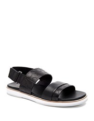 Calvin Klein Embossed Leather Sandals Black
