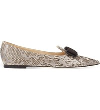 Jimmy Choo Gala Snakeskin Pointed Toe Flats Natural Silver