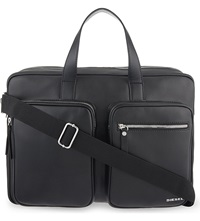 Diesel Crash Leather Briefcase Black