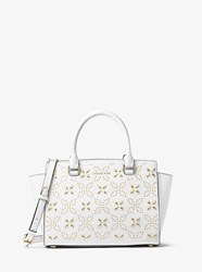 Michael Michael Kors Selma Medium Studded Saffiano Leather Messenger White