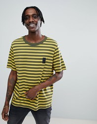 Cheap Monday Boxer T Shirt In Classic Stripe Dark Olive Green