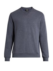 A.P.C. Crew Neck Cotton Blend Sweater Blue