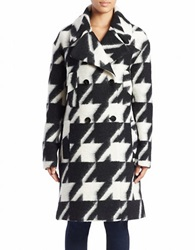 7 For All Mankind Houndstooth Wool Blend Coat Black White