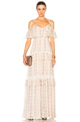 Needle And Thread Floral Stripe Maxi Dress In Floral Neutrals Floral Neutrals