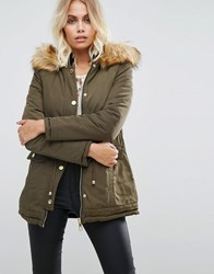 Lipsy Reversible Parka With Fur Hood Multi