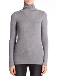 Set Ribbed Wool Turtleneck Sweater Grey Black Ecru