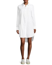 Milly Long Sleeve Italian Cotton Shirtdress White