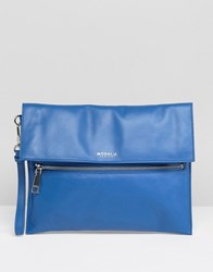 Modalu Leather Clutch Bag Ocean Blue