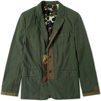 Cdg Homme Comme Des Garcons Garment Dyed Camo Trim Blazer Green