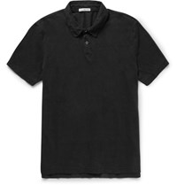 James Perse Slim Fit Cotton Jersey Polo Shirt Black
