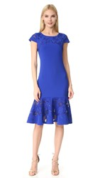 Marchesa Laser Cut Short Sleeve Dress Royal