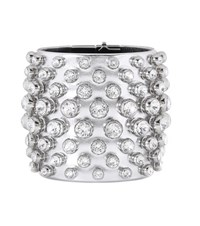 Tom Ford Crystal Embellished Metallic Leather Cuff Silver