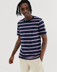 Globe Shift Striped T Shirt In Lilac And Navy