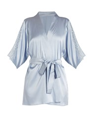 Fleur Of England Delphine Lace Insert Silk Blend Satin Robe Light Blue