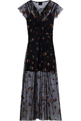 Anna Sui Woman Lace Up Embroidered Tulle Midi Dress Multicolor