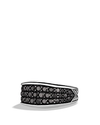David Yurman Chevron Narrow Three Sided Ring With Black Diamonds Silver
