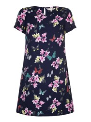 Yumi Butterfly And Floral Print Tunic Navy