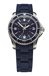Victorinox 'Maverick Gs' Rubber Strap Watch 34Mm Blue